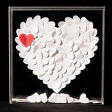 from the heart, DIY, guest book, books, die-cut, transparent, shadow box, boxes, hearts, stationary, signed hearts, weddings, wedding reception, reception
