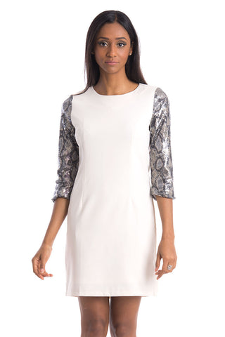Fitted Dress with Sequined 3/4 Sleeves-Cream-M/L - UK (12-14)