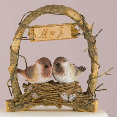 nest, love, bird, love bird, pair, heart, nature, whimsical, rustic, wedding, personalize, initials, poly resin, archway, arch, cake, cake topper, topper, reception, wedding reception, figurine