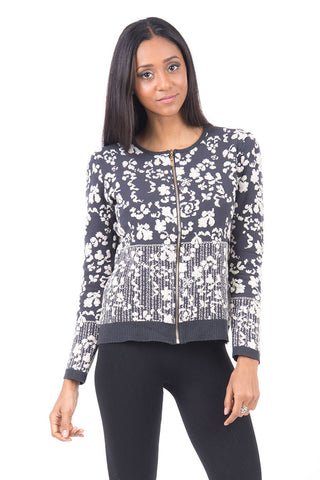 Floral Zip Cardigan With Glittery Detail -Charcoal-One Size - UK (8-12)