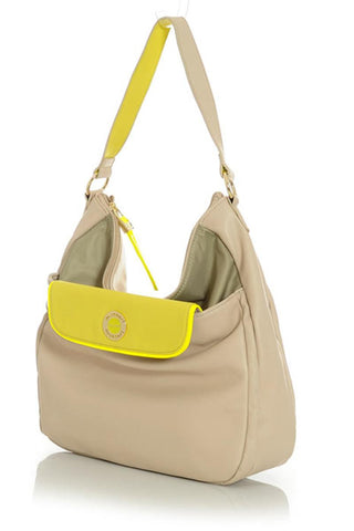 Cream Satchel Handbag with Greenish Taupe Interior and Neon Yellow Accents