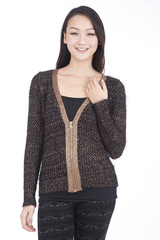 Smart Fluffy Zipped Cardigan-Gold-S/M - UK (8-10)