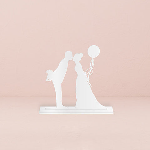 white, adorable, silhouette, affection, keepsake stand, display, shelf, mantel, desk, sweet, memento, best day ever, Acrylic, Plastic, bride, wife, wedding reception, wedding, weddings, topper, groom, figurine, husband, couple, cake topper, Cake Accessories_Cake Toppers, cake