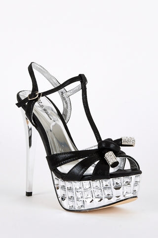 Black and Silver Stiletto Heel Platform T-Bar Sandal-Black-UK 7 - EU 40