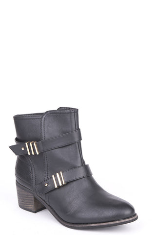 Heeled Ankle Boots With Strap And Metal Detail-Black-UK 4 - EU 37