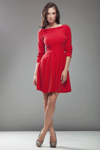 3/4 Inch Sleeve Red Skate Dress