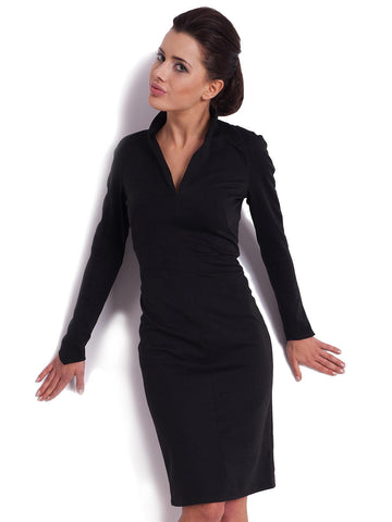 Long Sleeve Black Collared Dress