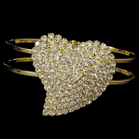 Bracelet, Clear, Cuff, Gold, Hearts, Jewelry, Rhinestones, Sale, Valentine's Day