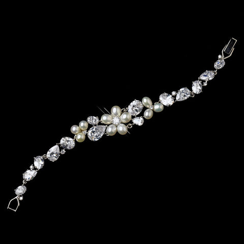 Bracelet, Clasp, Crystals, Cubic Zirconias, Freshwater Pearls, Ivory, Jewelry, Pearls, Silver