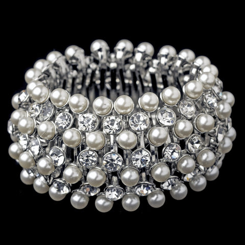 Bracelet, Diamond White, Faux Pearls, Jewelry, Pearls, Rhinestones, Rhodium, Stretch