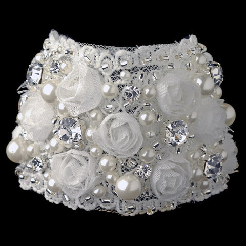 Beads, Bracelet, Clasp, Fabric, Faux Pearls, Ivory, Jewelry, Mesh, Pearls, Rhinestones, Silver