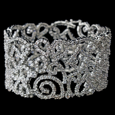 Bracelet, Clear, Crystals, Cubic Zirconias, Cuff, Jewelry, Silver