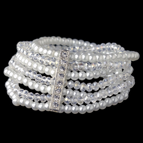 Bracelet, Crystals, Faux Pearls, Jewelry, Multi Strand, Pearls, Rhinestones, Silver, White
