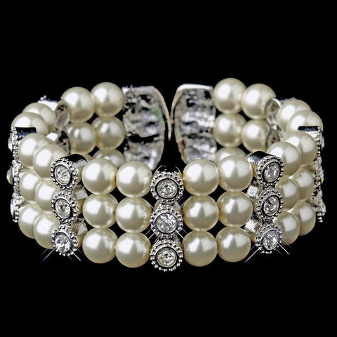 Bracelet, Cuff, Faux Pearls, Ivory, Jewelry, Pearls, Rhinestones, Rhodium, White