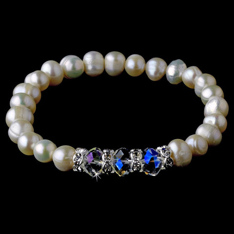 AB, Bracelet, Crystals, Freshwater Pearls, Ivory, Jewelry, Pearls, Rhinestones, Stretch