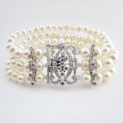Bracelet, Crystals, Cubic Zirconias, Freshwater Pearls, Ivory, Jewelry, Pearls, Rhodium, Stretch