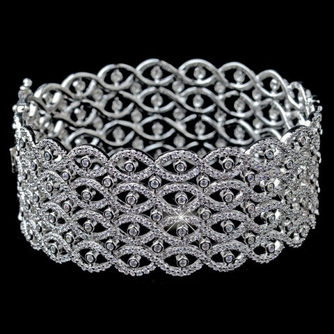 Bangle, Bracelet, Clear, Crystals, Cubic Zirconias, Jewelry, Rhodium
