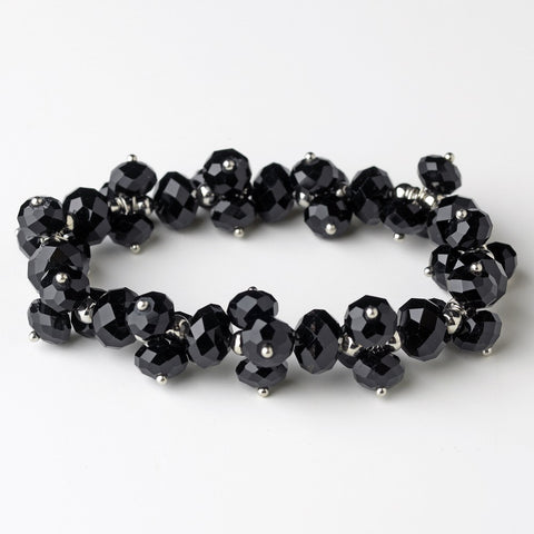 Black, Bracelet, Crystals, Jewelry, Stretch