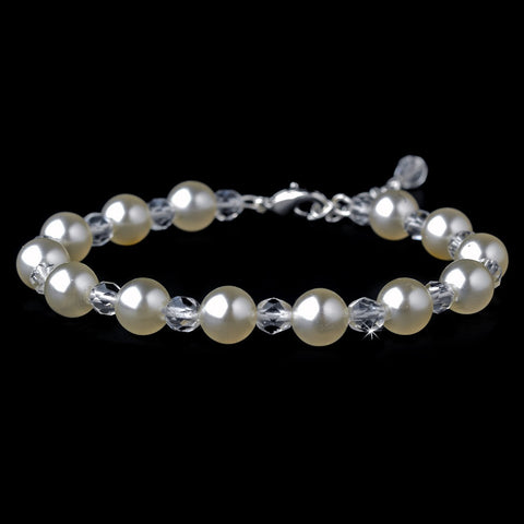 Bracelet, Crystals, Faux Pearls, Ivory, Jewelry, Pearls, Silver, Tennis