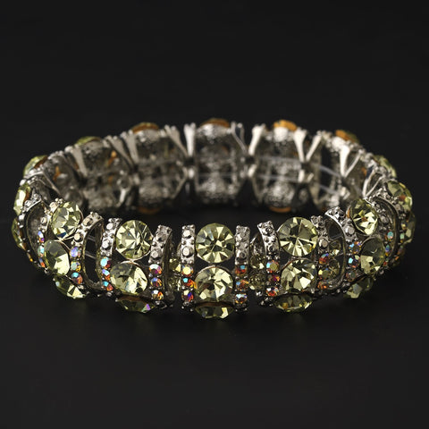 Bracelet, Jewelry, Rhinestones, Silver, Stretch, Yellow