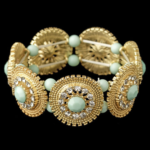 Bracelet, Gold, Green, Jewelry, Mint, Rhinestones, Stones, Stretch