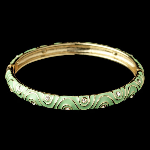 Bangle, Bracelet, Enamel, Gold, Green, Jewelry, Mint, Rhinestones