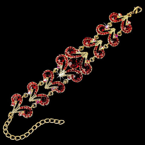 Bracelet, Clasp, Gold, Jewelry, Red, Rhinestones