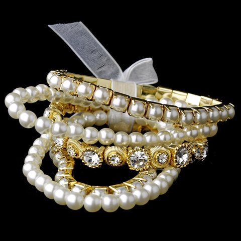 Bracelet, Faux Pearls, Gold, Ivory, Jewelry, Multi Strand, Pearls, Rhinestones, Stretch