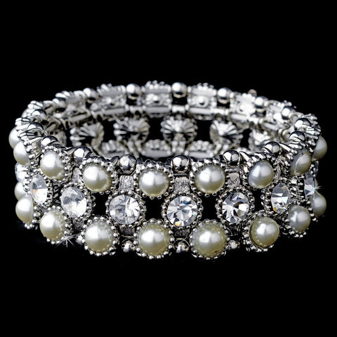 Bracelet, Faux Pearls, Ivory, Jewelry, Pearls, Rhinestones, Silver, Stretch