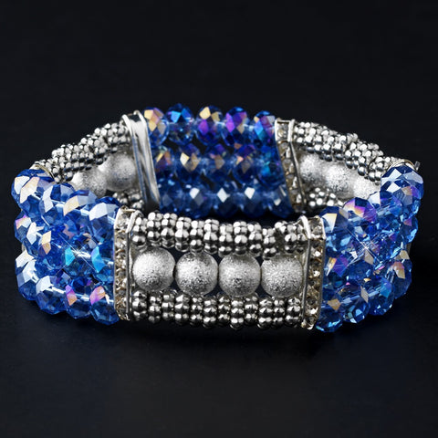 Blue, Bracelet, Crystals, Jewelry, Rhinestones, Sale, Silver, Stretch