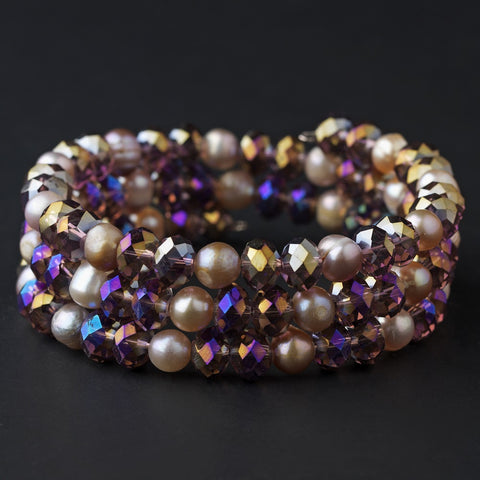 AB, Amethyst, Bracelet, Coil, Crystals, Freshwater Pearls, Jewelry, Pearls, Silver, Stretch