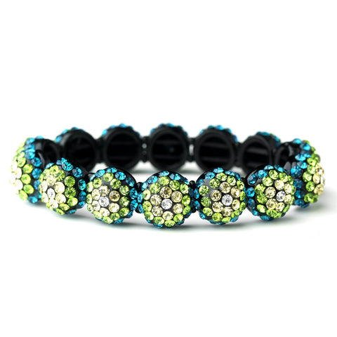 Black, Bracelet, Green, Jewelry, Rhinestones, Stretch