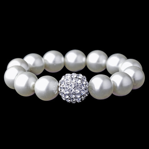 Bracelet, Faux Pearls, Ivory, Jewelry, Pearls, Rhinestones, Silver, Stretch, White