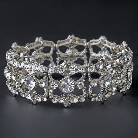 Bracelet, Clear, Jewelry, Rhinestones, Rhodium, Stretch