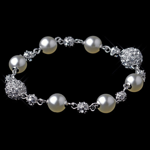 Bracelet, Crystals, Cubic Zirconias, Diamond White, Faux Pearls, Jewelry, Pearls, Silver, Tennis