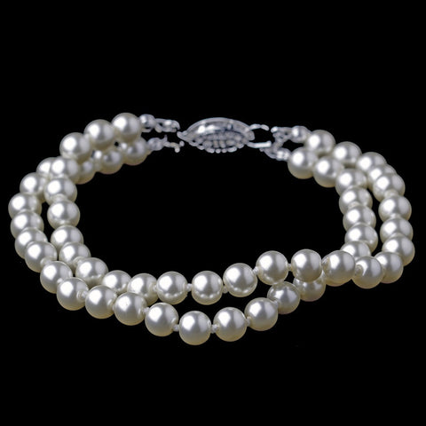 Bracelet, Faux Pearls, Ivory, Jewelry, Multi Strand, Pearls, Silver