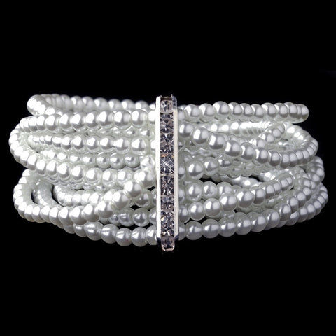 Bracelet, Faux Pearls, Jewelry, Multi Strand, Pearls, Rhinestones, Silver, Stretch, White