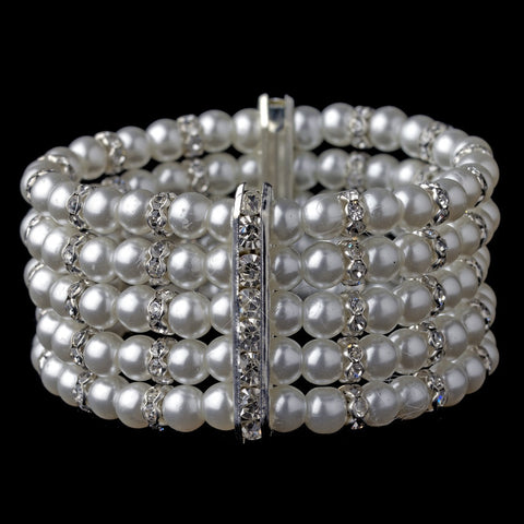 Bracelet, Faux Pearls, Jewelry, Pearls, Rhinestones, Silver, Stretch, White