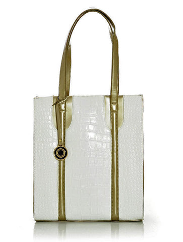 White Crocodile Inspired  Handbag with Gold Trim