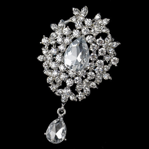 Brooch, Clear, Gemstones, Jewelry, Light Gold, Rhinestones, Rhodium, Silver