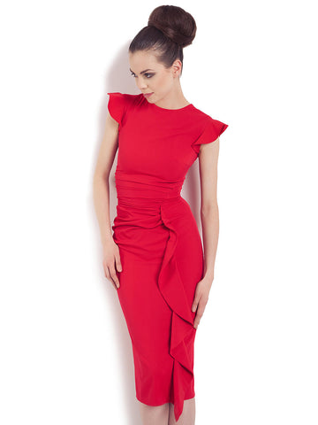 Red Silhouette Butterfly Cap Sleeve Tea Length Dress with Ruching