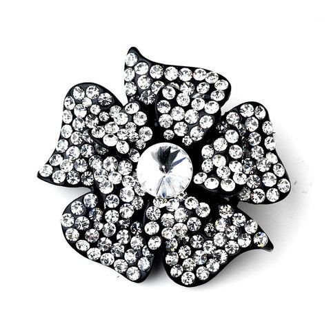 Black, Brooch, Clear, Flower, Jewelry, Rhinestones, Sale