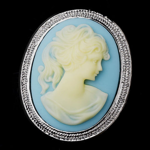 Brooch, Cameo, Enamel, Jewelry, Light Blue, Rhodium, Sale