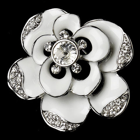 Brooch, Enamel, Flower, Jewelry, Rhinestones, Rhodium, Sale, White
