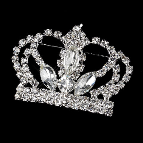Brooch, Clear, Jewelry, Pageant Crown, Rhinestones, Silver