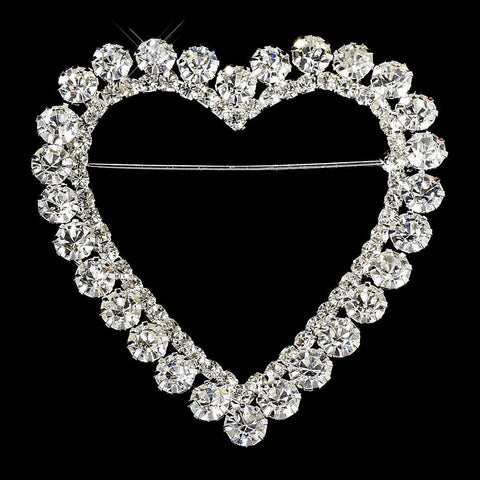 Brooch, Clear, Hearts, Jewelry, Rhinestones, Silver, Valentine's Day