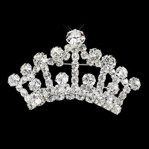 Brooch, Clear, Jewelry, Pageant Crown, Silver