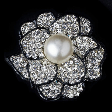 Black, Brooch, Faux Pearls, Flower, Ivory, Jewelry, Rhinestones, Sale