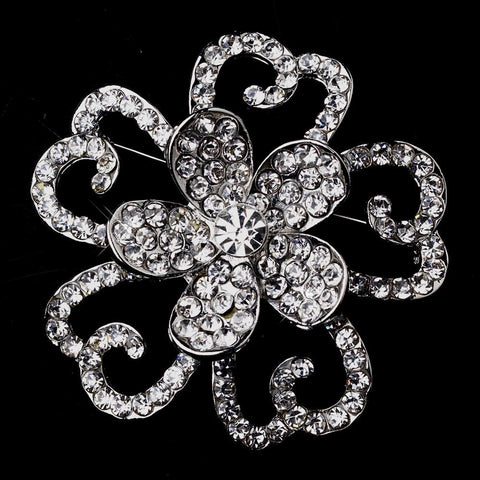 Brooch, Clear, Flower, Jewelry, Rhinestones, Rhodium
