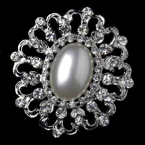 Brooch, Faux Pearls, Jewelry, Pearls, Rhinestones, Rhodium, Sale, White